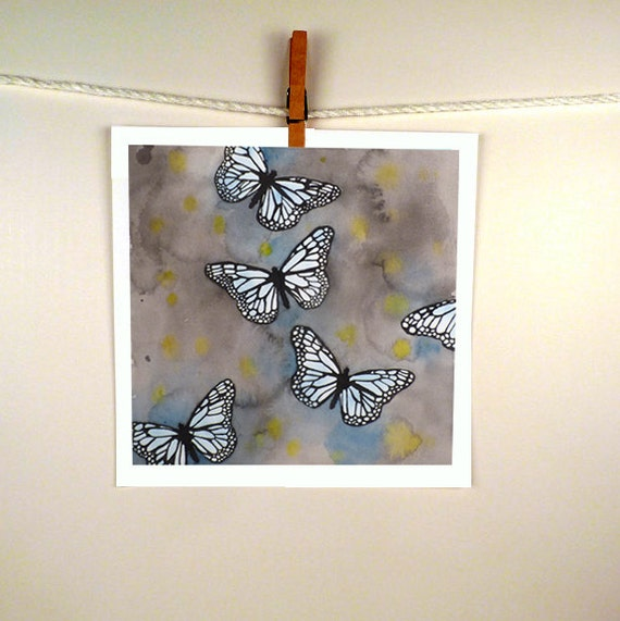 Butterflies Watercolor Painting Print - Mothers Day - Monarch Butterfly Painting Spring  Art - Women Men Kids Teens Aqua Grey - 12  x 12
