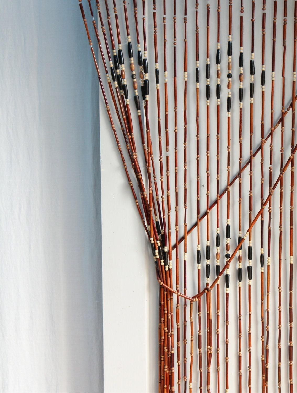vintage 1970s wood beaded curtain boho style