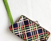 Plaid Wristlet Clutch, Navy, Green and Coral, kiss lock frame - READY TO SHIP