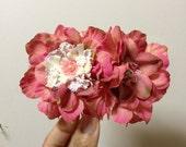 Pink Flower Hair Comb, Wedding Hair Clip,  Bridal Head Piece , Floral Hair Accessories, Shabby Chic