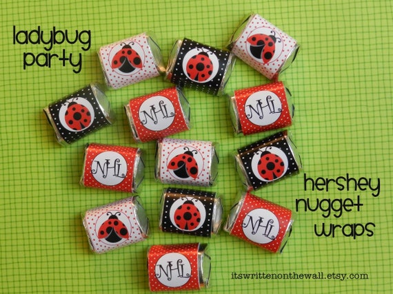 Personalize-Ladybug Chocolate Candy Wraps-For Birthday Party or Baby Shower 18 Wraps 6 of Each Design