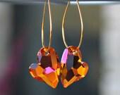 Brilliant Swarovski Crystal Tangerine Wild Hearts on Gold Hoop Earrings