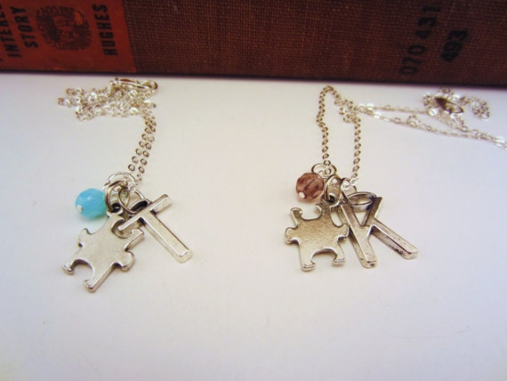 Best friend gift. Friendship necklaces. Puzzle piece necklace, custom color glass bead, initial charm. Charm necklace, best friend gift.