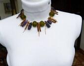 African Glass Amethyst Coral necklace, bold, eyecatching - beadartaustria