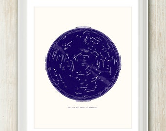 We Are All Made of Stardust - 8x10 inches on A4. Inspiring quote art poster print. (dark blue and light cream)