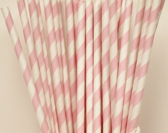 Paper Straws, 25 Precious Pink Striped Paper Straws,  Pastel Pink Straws, Baby Pink, Girl Birthday, Baby Reveal Party, Princess Party Straws