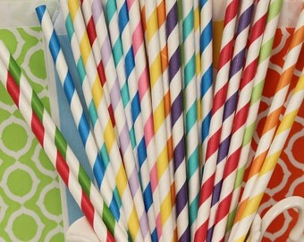 Paper Straw, 25 Rainbow Party Paper Straws, Striped Straws, Rainbow Birthday Straws, Drinking straws, Party Paper Straws, Kids Party Straws