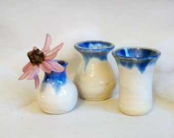 Little Vases - 10 Mini Vases  -- Blue and Cream/other colors available-Made to Order - Wedding, Shower, Birthday Favors - Table Decorations