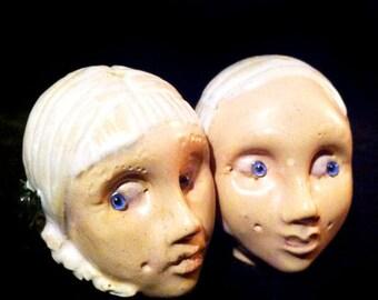 Bad Seeds Kinder Baby Head ShaKer twin set..handmade OOAK ceramic mini salt pepper spice shaker dolls ...shakers