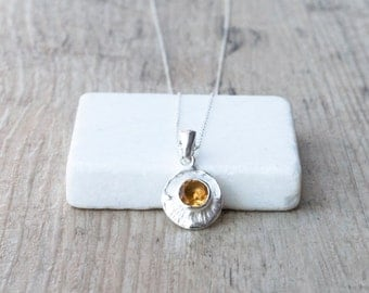 Citrine Pendant Necklace, Natural Yellow Citrine Gemstone, 925 Silver Pendant and Chain, November Birthstone Necklace, Citrine  Jewelry