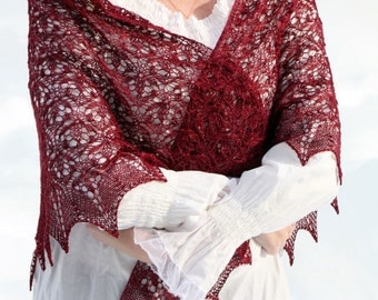 Hand knitted starflower triangular shawl wrap luxurious red deep bordeaux mulberry silk lace