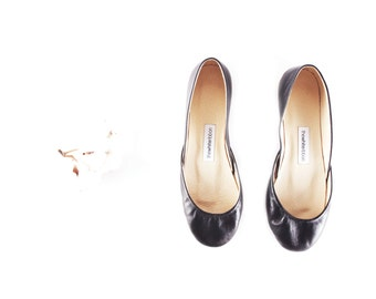 Black Leather Ballet Flats | Women's Shoes | Slip Ons | Ballerina Shoes | Classic Black...Ready to Ship