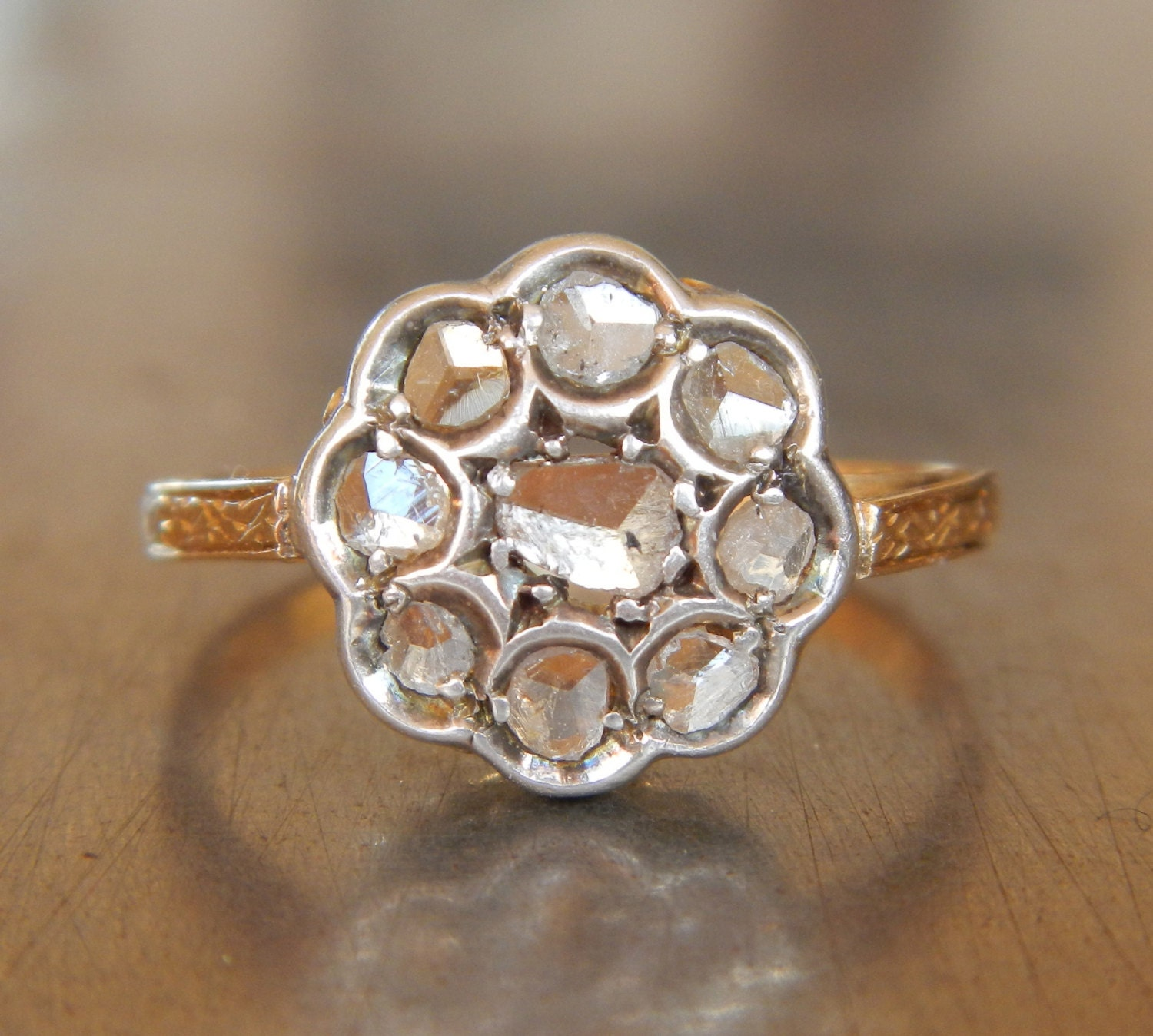 antique diamond cluster engagement ring free shipping. Black Bedroom Furniture Sets. Home Design Ideas