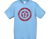 8th Birthday Shirt  -  American Superhero Birthday Party  T-Shirt - Distressed Graphic - Superhero Party- Choose your number