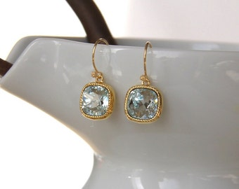 Birthstone Aquamarine Earrings Cushion Cut Crystal Bezel Set Bridal Earrings (10962)