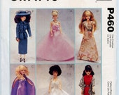 McCalls Crafts P460 / 2549 Fashion Doll Clothes Barbie Clothes Retro Style Doll Clothes