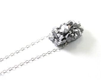 Silver druzy necklace: amethyst druzy necklace, sterling silver, druzy pendant, sparkly stone necklace druzy jewelry