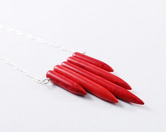 Red necklace: howlite spike necklace, tribal chevron necklace bohemian jewelry, boho long necklace
