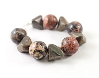 Pyrite spike bracelet chunky stone bracelet leopard skin jasper jewelry pyrite bracelet, chunky bracelet natural stone bracelet