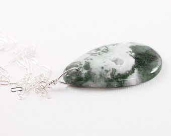 Natural stone necklace moss agate necklace green gemstone pendant necklace long sterling silver druzy necklace
