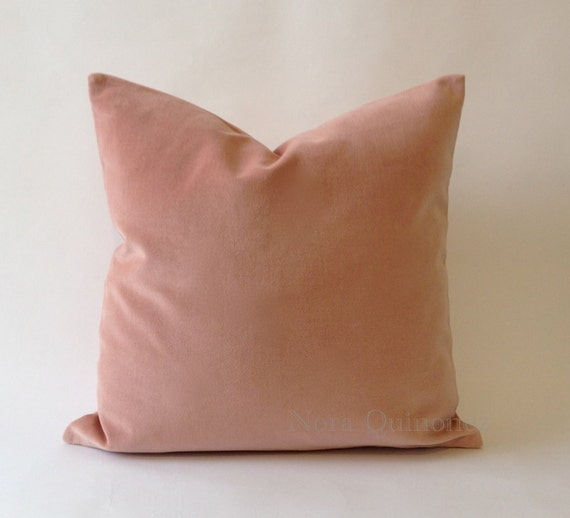18x18 Rose Pink Cotton Velvet Pillow Cover - Decorative Throw Pillows - Invisible Zipper Closure - Knife Or Piping Edge