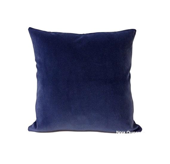 16x16 Cobalt Blue Cotton Velvet Pillow Cover - Decorative Accent Throw Pillows - Invisible Zipper Closure  (41x41 cm)