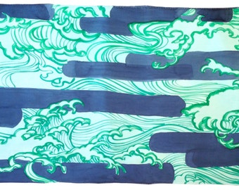 Hand Painted Silk Shawl, Ex Large Blue Silk Shawl, Japanese Woodcut Blue Waves Scarf, Evening Wrap. 35x84 inches. 100% Silk.