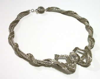 Beaded Ribbons & Bows Special Occasion Necklace - Cubic Zirconium and Viking Knit in Silver