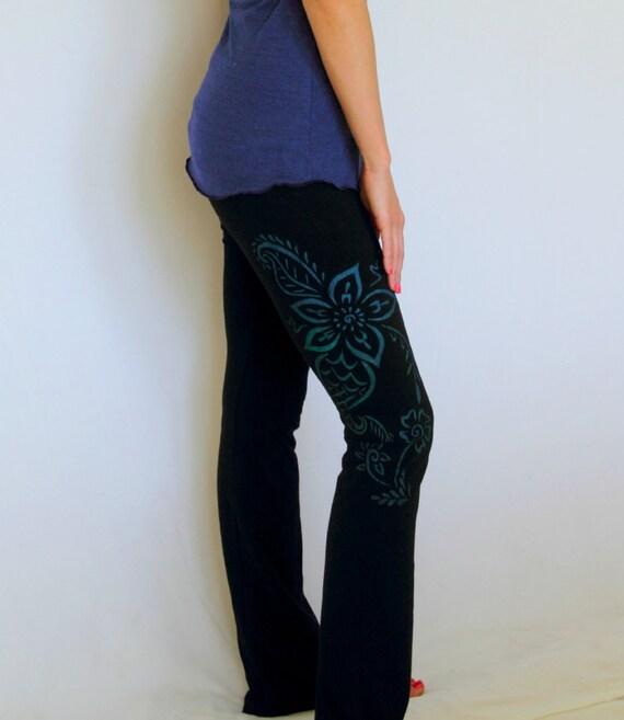 Yoga Pants Black MEDIUM Hand Painted Womens By