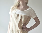 SALE: Plaid/Silk Chiffon Tuck Top - Ivory Sage, Size Small