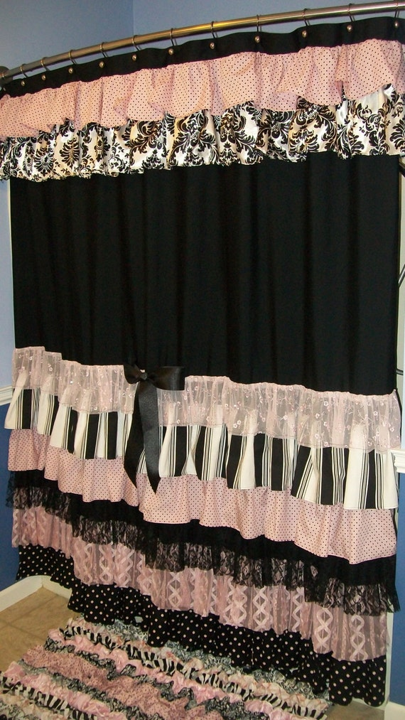 pink and white striped shower curtain. Items similar to Shower Curtain Cascading Ruffles Custom Made Designer  Fabric Black Pink White Damask Stripes Dots Lace on EtsyItems And Striped Florentine Stripe