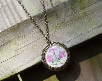 Bridesmaid Gift--Handmade Pink Flower Cabochon Necklace--Vintage Dictionary Natural History Illustration--Anniversary Gift for Her