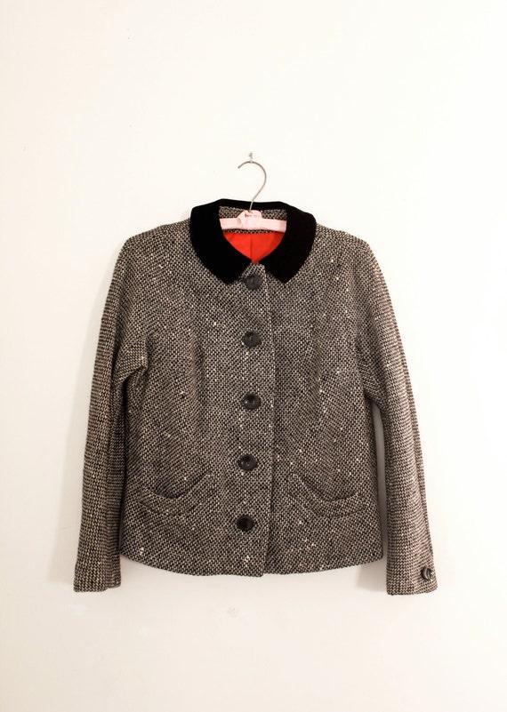 Vintage 1950's Bouclé Tweed Jacket with Velvet Collar - Vintage Dolman Sleeve Box Jacket - Size Small
