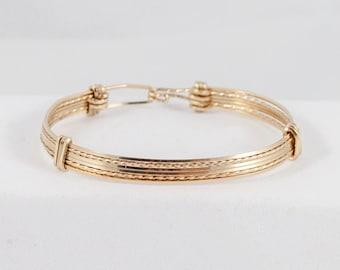 Gold Bangle wire Bracelet handmade