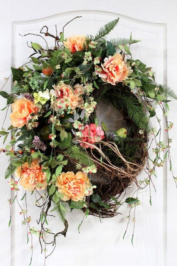 To summer wreath front door wreath spring wreath country wreath
