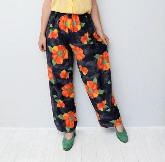 Vintage navy orange floral palazzo pants / 90s women