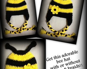 Bee hat, bumble bee hat, any size, child, adult, newborn, 0-3 months, toddler, 3-6 months