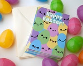 Happy Easter Egg Cards, 10 Pack of Smiling Eggs Spring Holiday Greeting Card, Cute / Kawaii Pastel Emoticon Faces