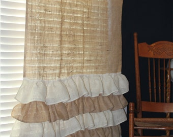 Burlap Curtains - ruffles -