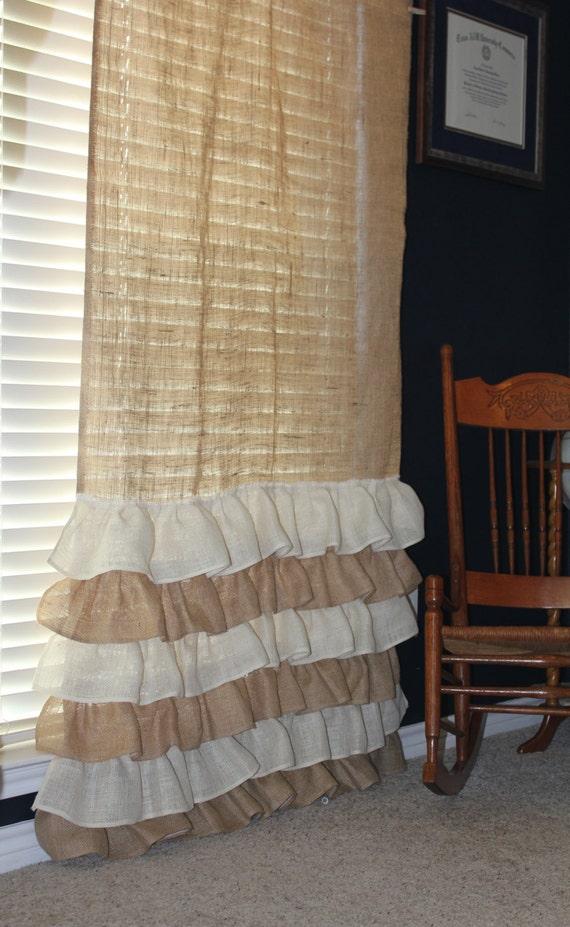 Burlap Curtains ruffles by CreativeCaterpillar on Etsy