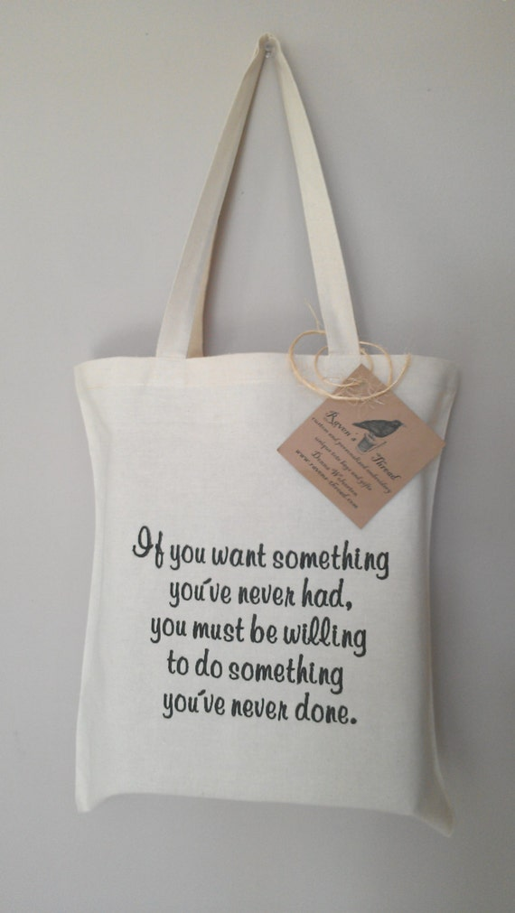 Quote tote bag embroidery on eco friendly cotton canvas