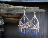 Sapphire-Blue Swarovski Crystal Chandelier and Sterling Earrings (Blue Skies)