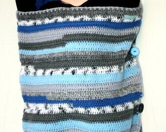 SLEEP SACK / sleeping bag for baby crocheted blue striped