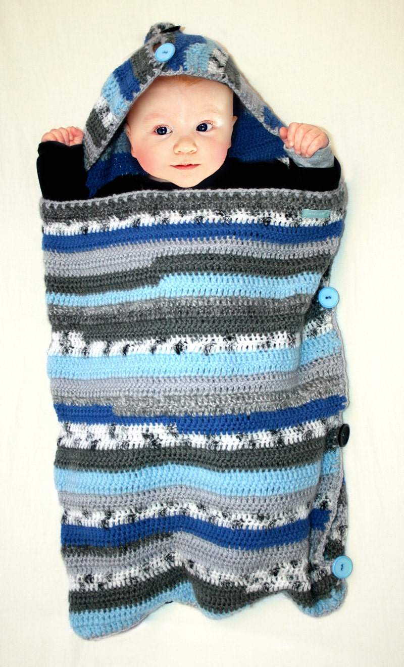 Sleep Sack Sleeping Bag For Baby Crocheted Blue Striped