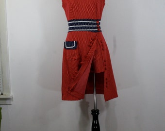 1970s Red, White, and Blue Hot Pants and Dress Set, Polka Dots