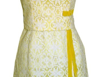 SALE - Vintage 1950s Jackie O Style Bright Yellow Lace Semi Formal Wiggle Dress with Lace Shell Top - XS