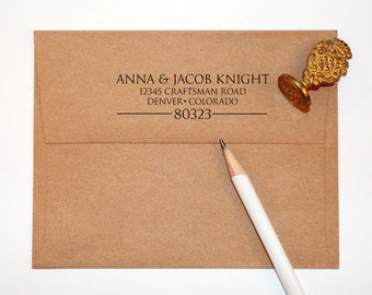 Return address stamp, black self inking stamp, rubber stamp wood handle