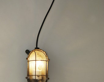 """Industrial wall lamp in glass and metal 60's:  """"Bunker martelé"""""""