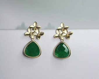 Katty -  Cherry blossom earrings with emerald drops