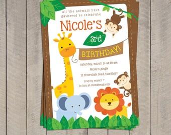 Safari Invitation / Safari Birthday invitation / Jungle Invitation / Safari Invite / Zoo Birthday Invitation / Printable DIY PDF